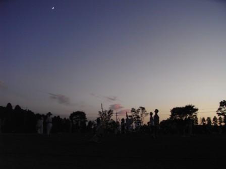 夕ぐれにたたずむ案山子たち